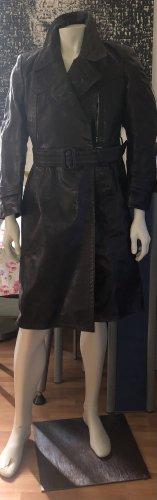 Skórzany płaszcz czarno-brązowy