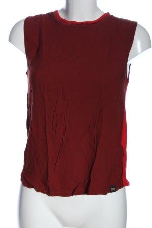 Scotch & Soda ärmellose Bluse rot-braun abstraktes Muster Casual-Look