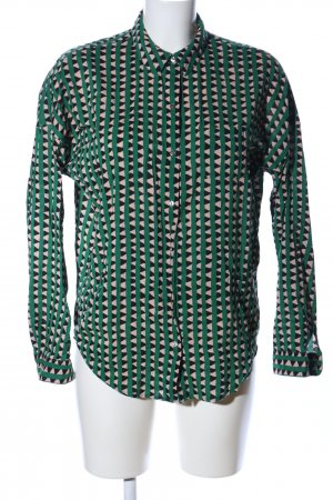 Scotch & Soda Hemd-Bluse grün-wollweiß Allover-Druck Business-Look