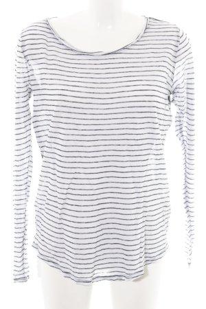 Scotch & Soda Langarm-Bluse weiß-schwarz Streifenmuster extravaganter Stil