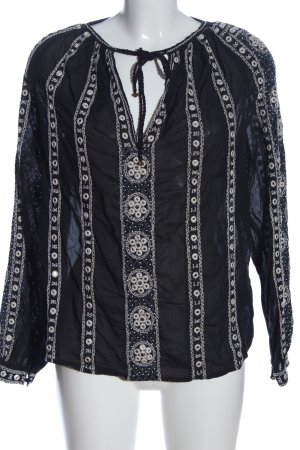 Scotch & Soda Langarm-Bluse schwarz-weiß Casual-Look