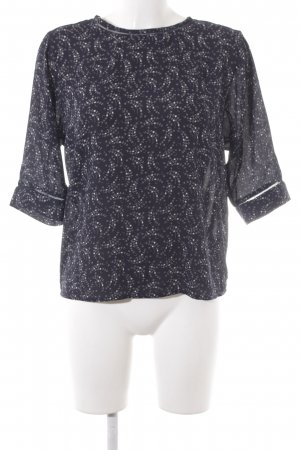 Scotch & Soda Langarm-Bluse dunkelblau-weiß abstraktes Muster Casual-Look