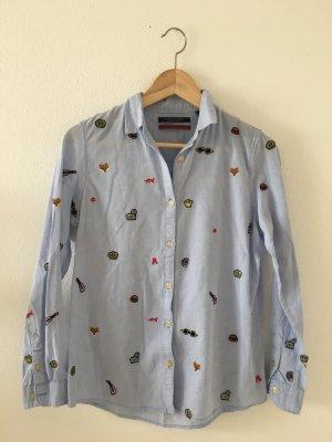 Scotch & Soda Maison Scotch 36 Oxford Bluse Hemd blau Stickerei padges cool sportlich