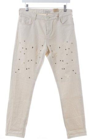 Scotch & Soda Slim Jeans beige grafisches Muster Destroy-Optik