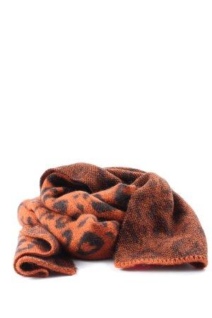 Scotch & Soda Gebreide sjaal licht Oranje-zwart abstract patroon