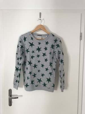 Scotch&Soda Sweatshirt, Grau mit grünen Sternen aus Samt