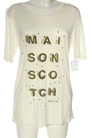 Scotch & Soda T-Shirt wollweiß-bronzefarben Schriftzug gedruckt Casual-Look
