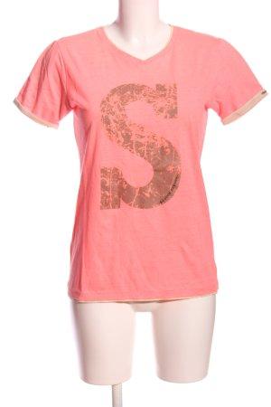 Scotch & Soda T-Shirt pink-braun Schriftzug gedruckt Casual-Look