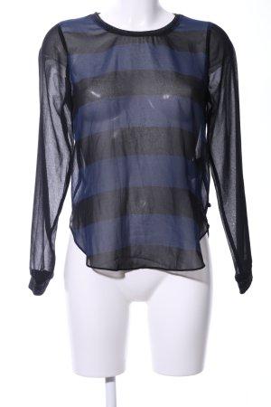 Scotch & Soda Transparenz-Bluse schwarz-blau Streifenmuster Casual-Look