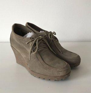 SDS Damen Wedges 37 Leder Pumps Halbschuh High Heels Plateau Boots Stiefelette