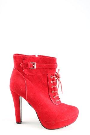 SDS Reißverschluss-Stiefeletten rot Casual-Look