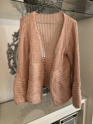 Cardigan a maglia grossa rosa-rosa chiaro