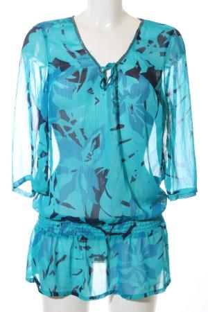 Seaside Transparenz-Bluse türkis-blau abstraktes Muster Elegant
