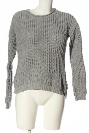 Second Female Crochet Sweater light grey cable stitch casual look