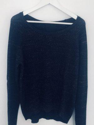 Second Female Knit Sweater Strick Pullover Rundhals Schwarz Glitter Rot Gr. XS