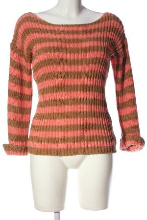 Second Female Rundhalspullover pink-braun Streifenmuster Casual-Look
