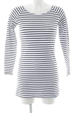 Second Female Maglione girocollo nero-bianco motivo a righe stile semplice