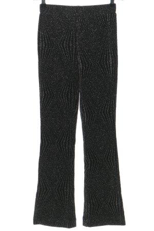 Second Female Stretchhose schwarz-silberfarben Allover-Druck Glitzer-Optik