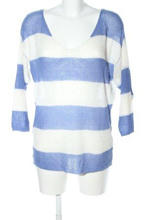 Second Female V-Ausschnitt-Pullover blau-weiß Streifenmuster Business-Look