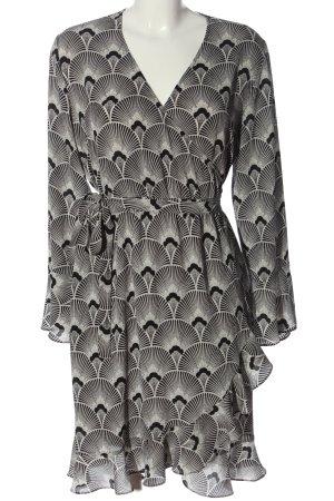 Second Female Kopertowa sukienka czarny-biały Na całej powierzchni