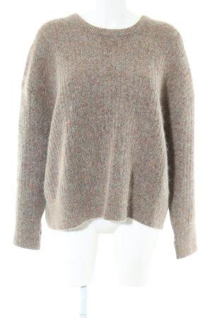 Second Female Maglione di lana marrone puntinato stile casual