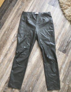 Seductive Pantalone in pelle verde oliva-grigio