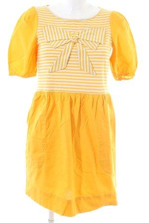 See by Chloé A-Linien Kleid blassgelb-weiß Streifenmuster Party-Look