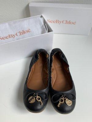 See by Chloé Ballerines pliables doré-noir cuir