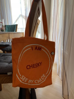 See by Chloé Sac seau orange-blanc coton