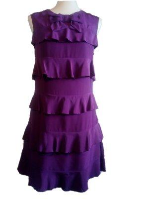 See by Chloé Sukienka z falbanami ciemny fiolet Jedwab