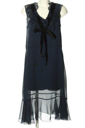 See by Chloé Chiffonkleid blau-schwarz Webmuster Elegant