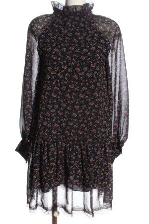 See by Chloé Abito a maniche lunghe nero-marrone stampa integrale elegante