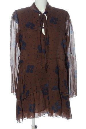 See by Chloé Abito a maniche lunghe marrone-blu stampa integrale stile casual