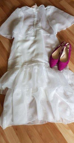 See by Chloé Sukienka z falbanami w kolorze białej wełny Lyocell