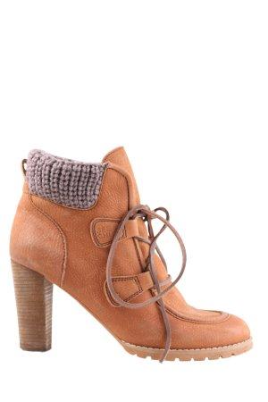 See by Chloé Patucos con cordones marrón-blanco puro punto trenzado