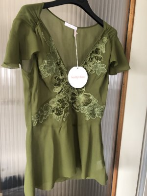 See by Chloé Silk Top olive green silk