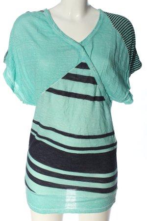 See by Chloé T-shirts en mailles tricotées turquoise-noir motif rayé