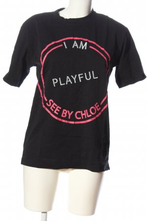 See by Chloé T-shirt nero-rosa caratteri stampati stile casual