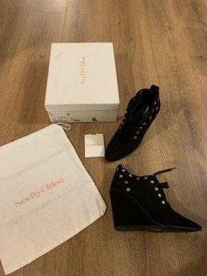 See by Chloé Wedges Ankle Boots Stiefel schwarz Silber Leder neu Nieten