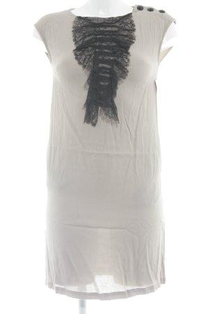See u soon Blusenkleid hellbeige-schwarz Zierknöpfe