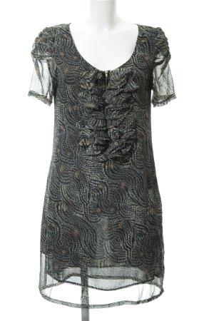 See u soon Chiffonkleid schwarz-creme abstraktes Muster Elegant