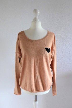 See U Soon Pulli Pullover nude beige peach Herz Gr. S M L 36 38 40
