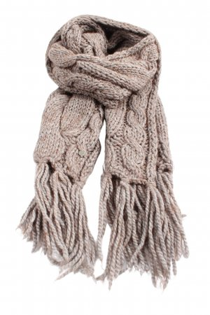 Seeberger Fringed Scarf brown cable stitch casual look