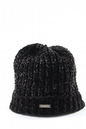 Seeberger Crochet Cap black-silver-colored themed print casual look