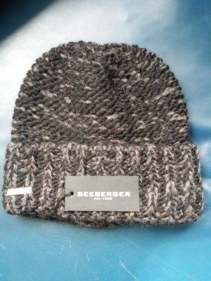 Seeberger Knitted Hat black-grey alpaca wool