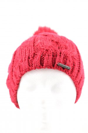 Seeberger Bobble Hat red cable stitch casual look