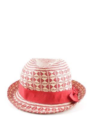 Seeberger Cappello di paglia crema-rosso motivo astratto stile casual