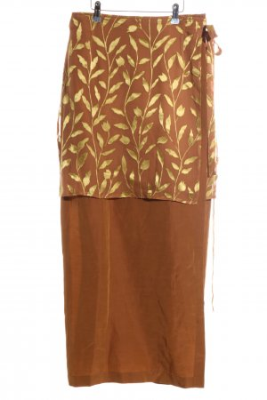 Seeler Falda cruzada marrón-color oro estampado floral look casual