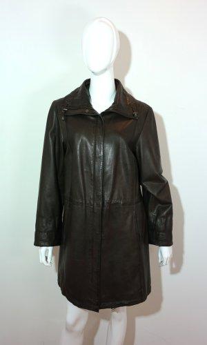 Seeberger Leather Coat dark brown-black brown leather