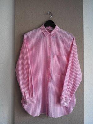 Seesucker Long-Bluse in rosa-weiß, gestreift, Größe M oversize, neu